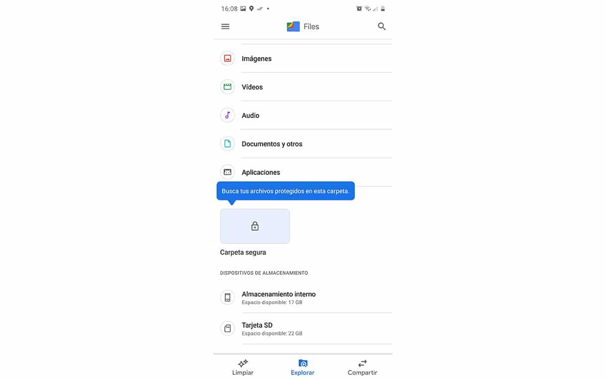 Carpeta Segura de Files de Google