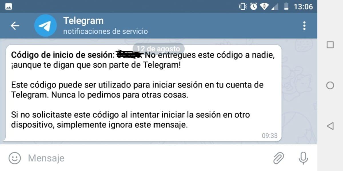 Código Telegram