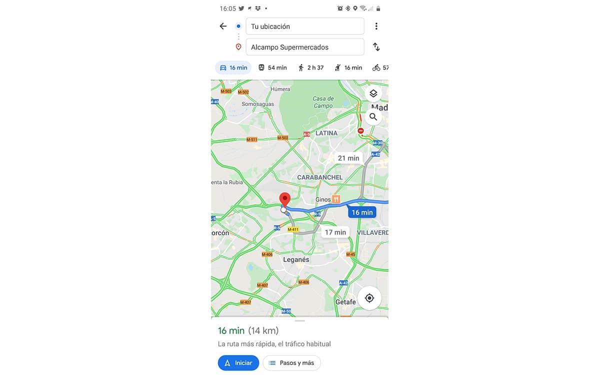 Iniciar rutas Maps