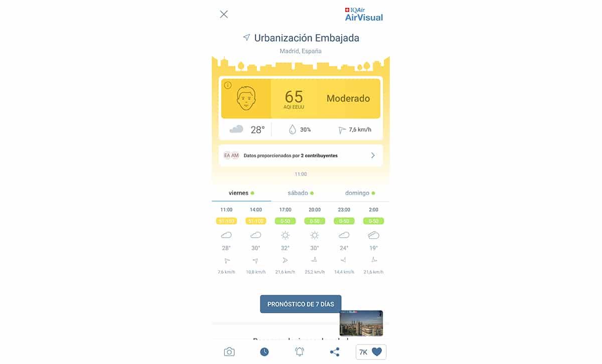 Pronóstico de calidad del aire con foto