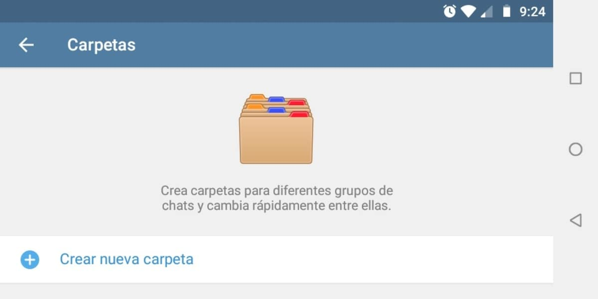 Crear carpeta Telegram