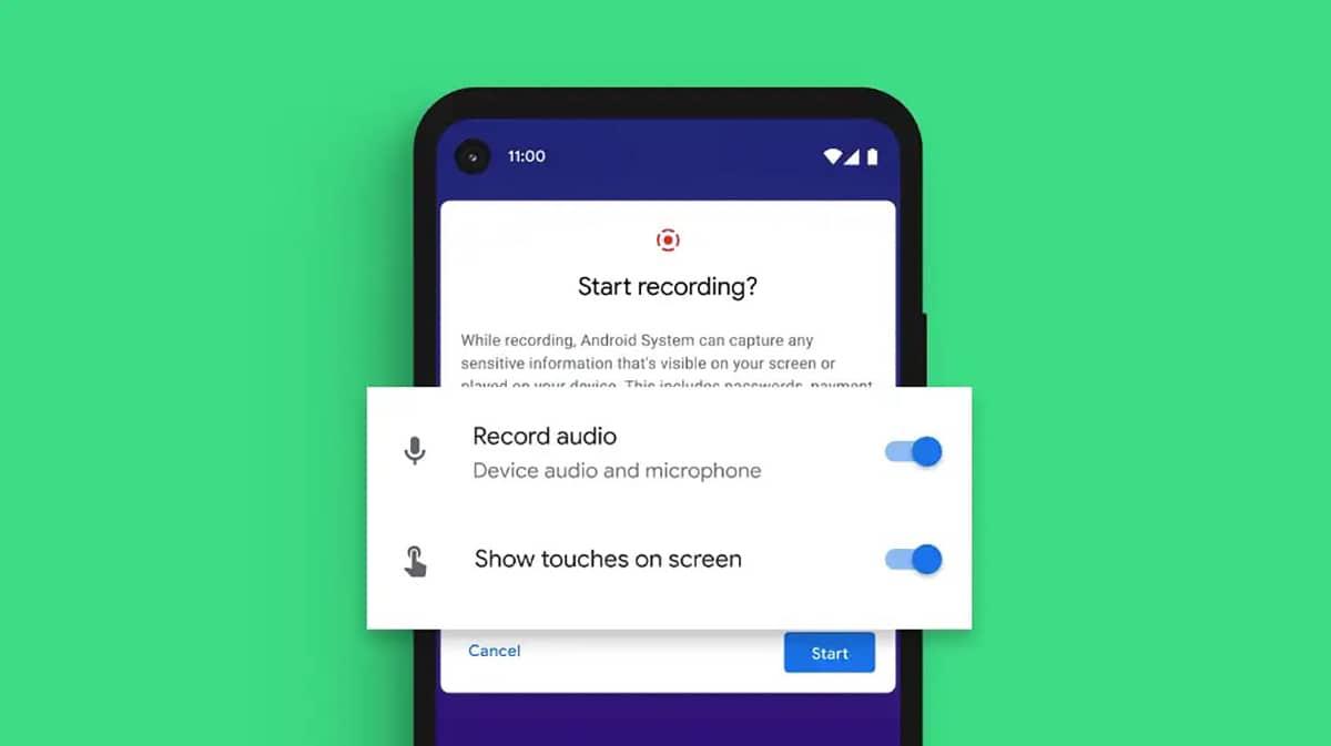 Grabación de monitor en Android™ 11