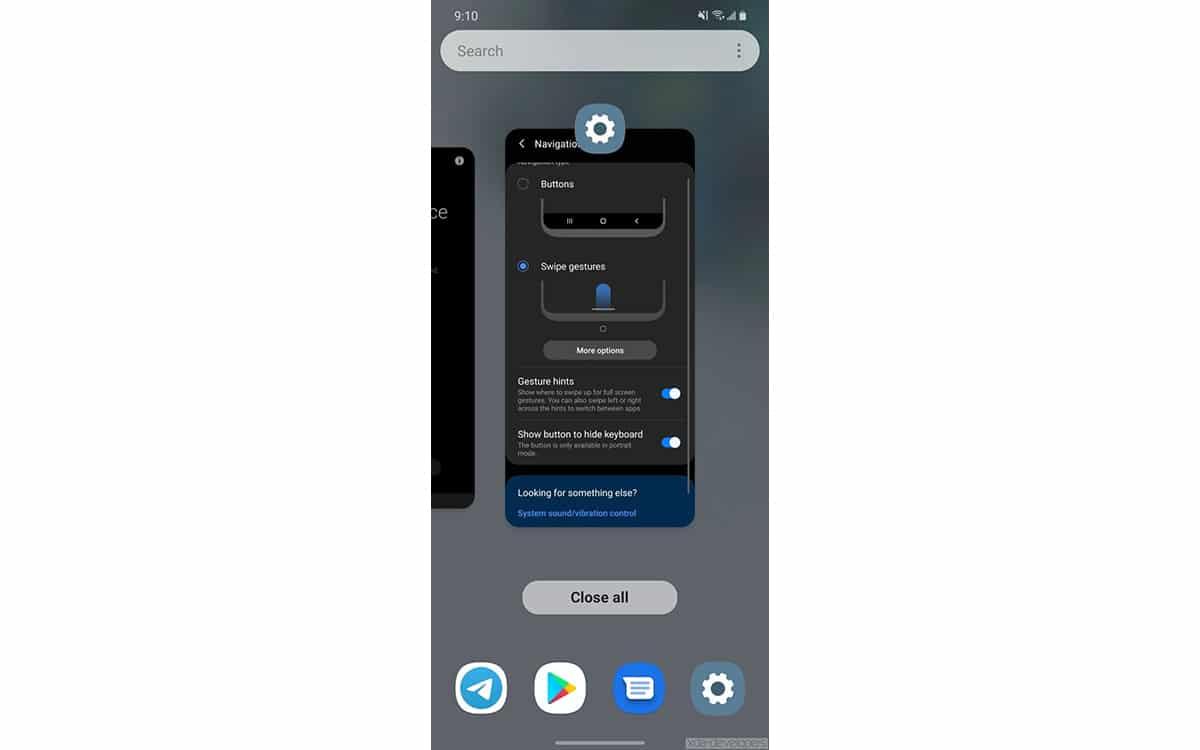 Apps recientes en la One UI 3.0