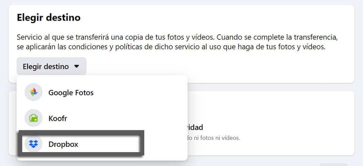 Cómo transferir fotos desde Facebook™ a Dropbox