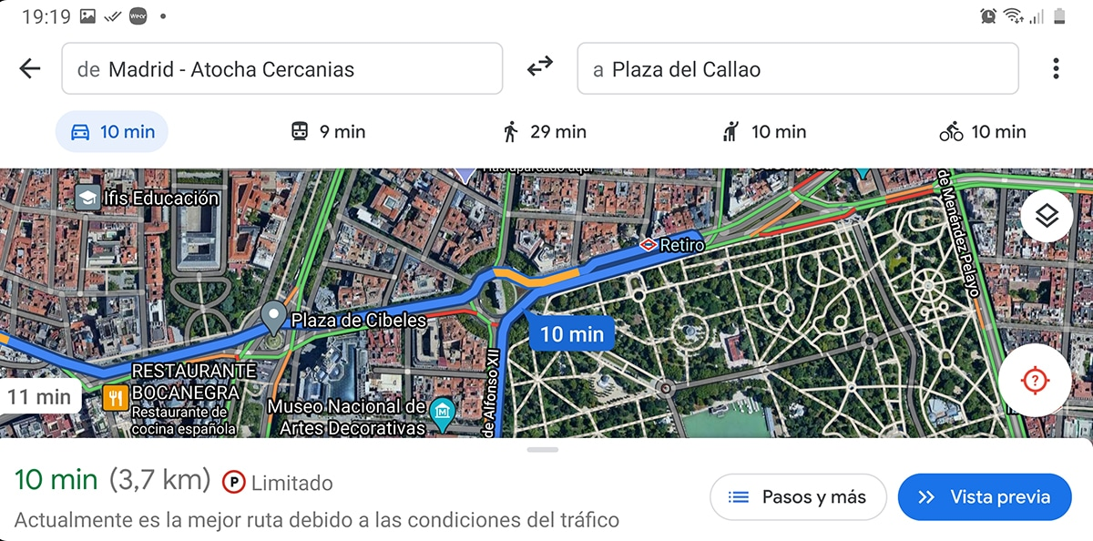 Ruta en capa Maps