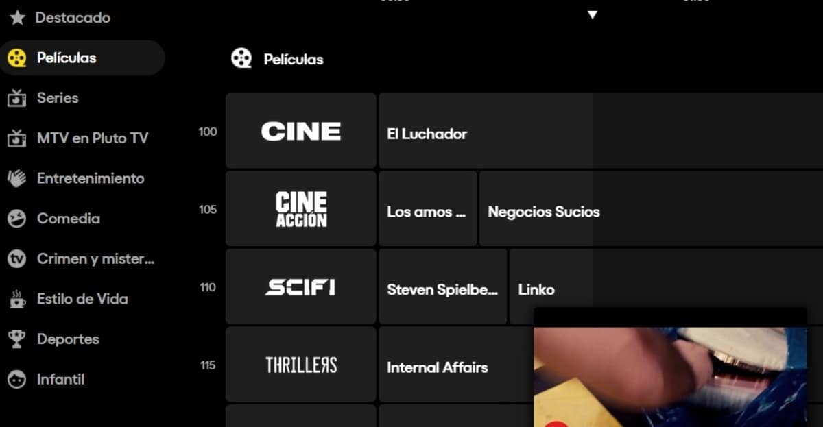 Canales Pluto TV
