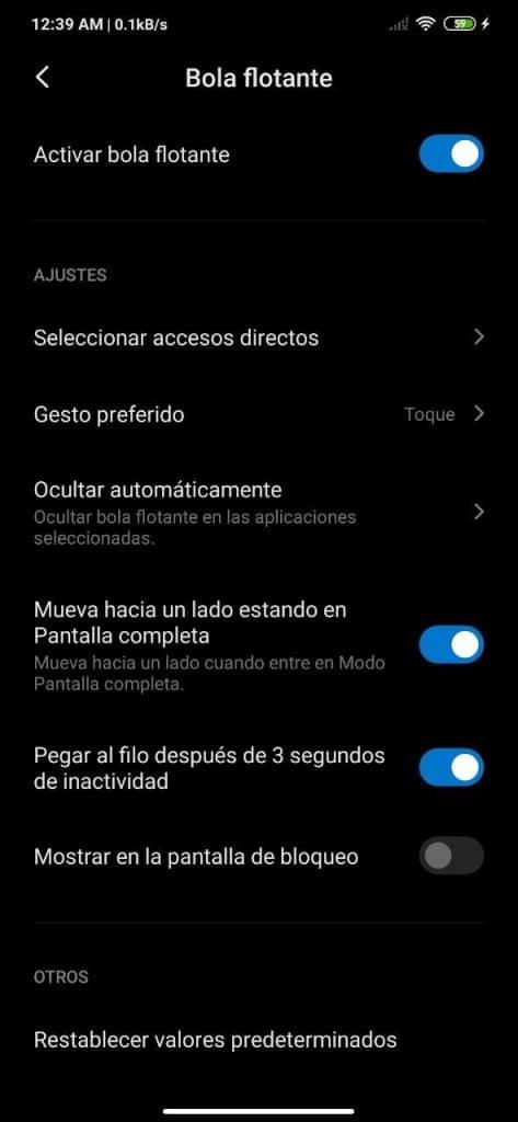 Cómo activar la bola flotante en MIUI y configurar sus accesos directos