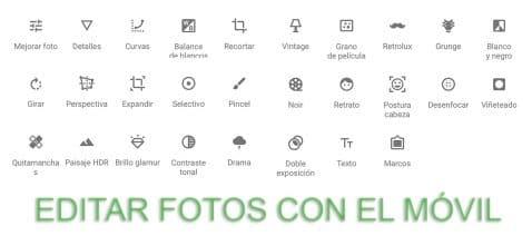 Editar fotos móvil
