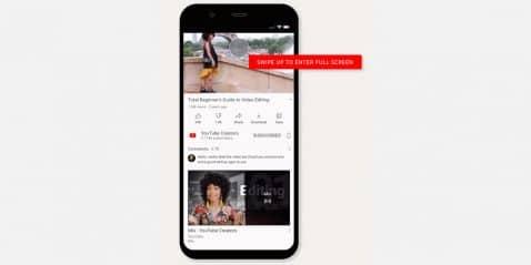 Nueva versión con nuevo gesto para YouTube en Android