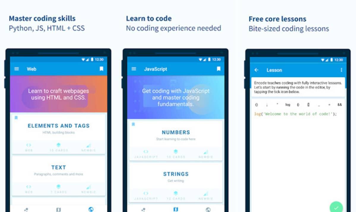 Aplicación Encode de Android para aprender a programar