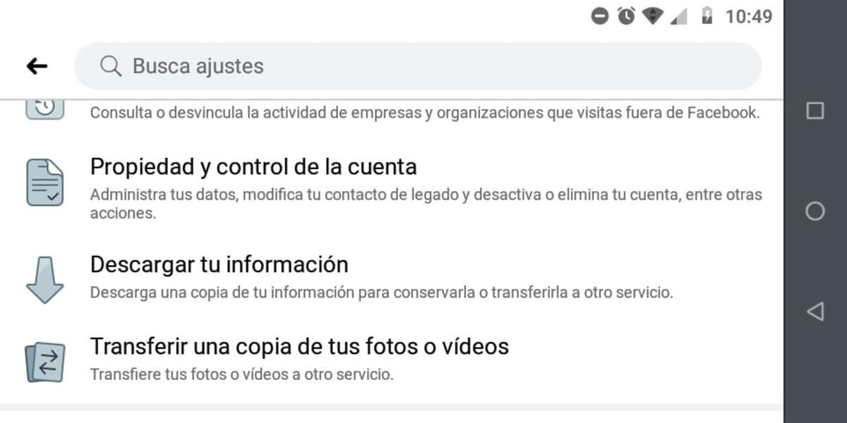 Crear copia seguridad Facebook