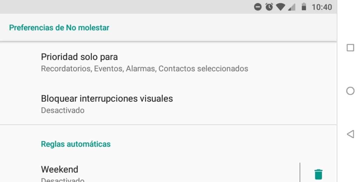 Modo no molestar Android