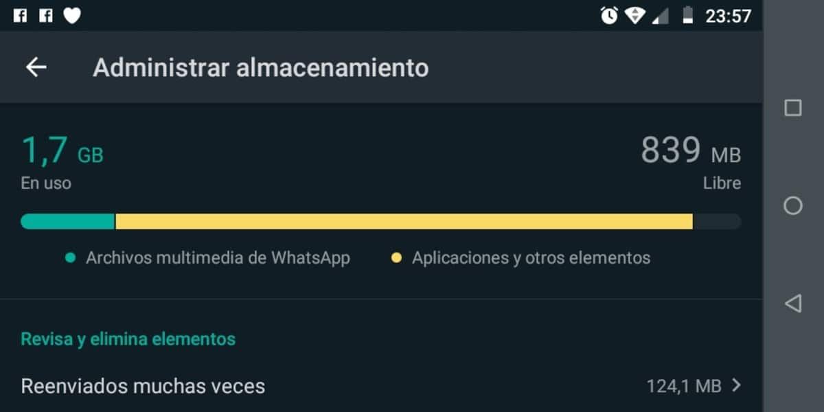 Liberar almacenamiento WhatsApp