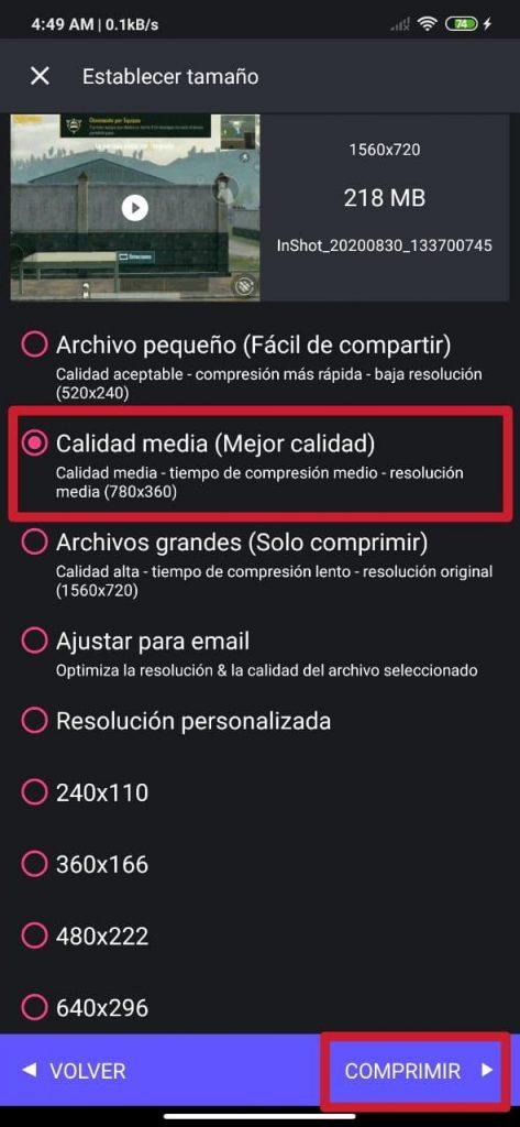 Cómo comprimir y cambiar la resolución de videos