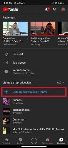 Cómo crear alguna lista de reproducción en Youtube