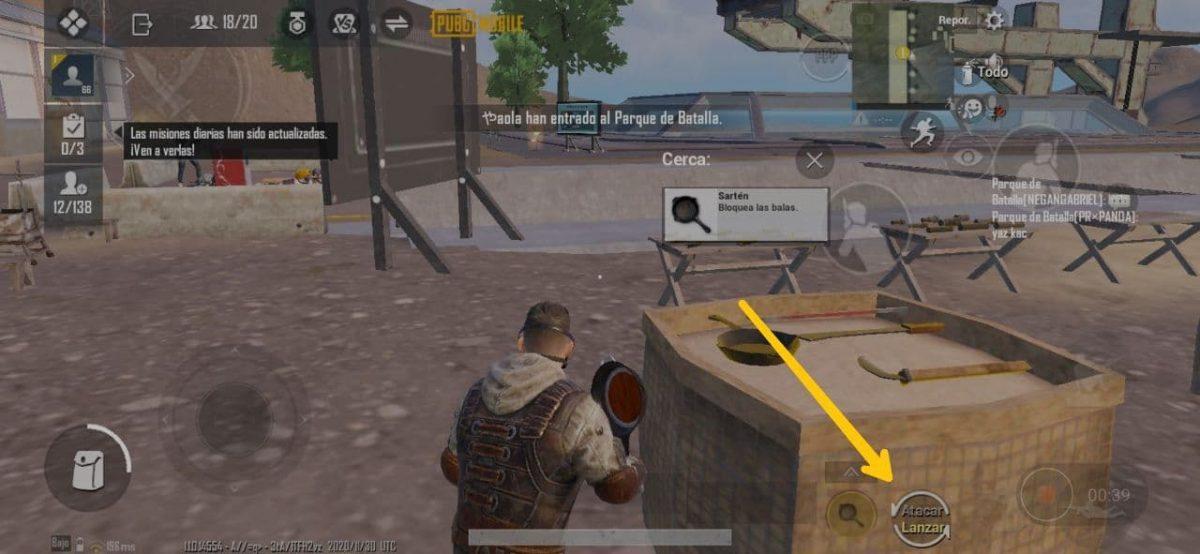 Cómo lanzar armas melé en PUBG Mobile