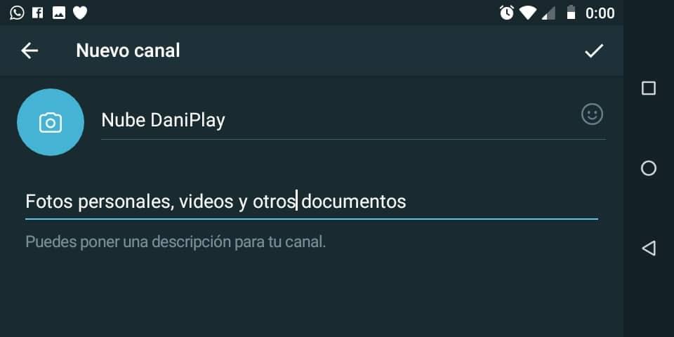 Creando nuevo canal Telegram