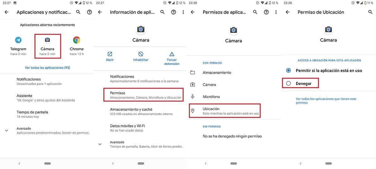 Desactivar localización cámara Android