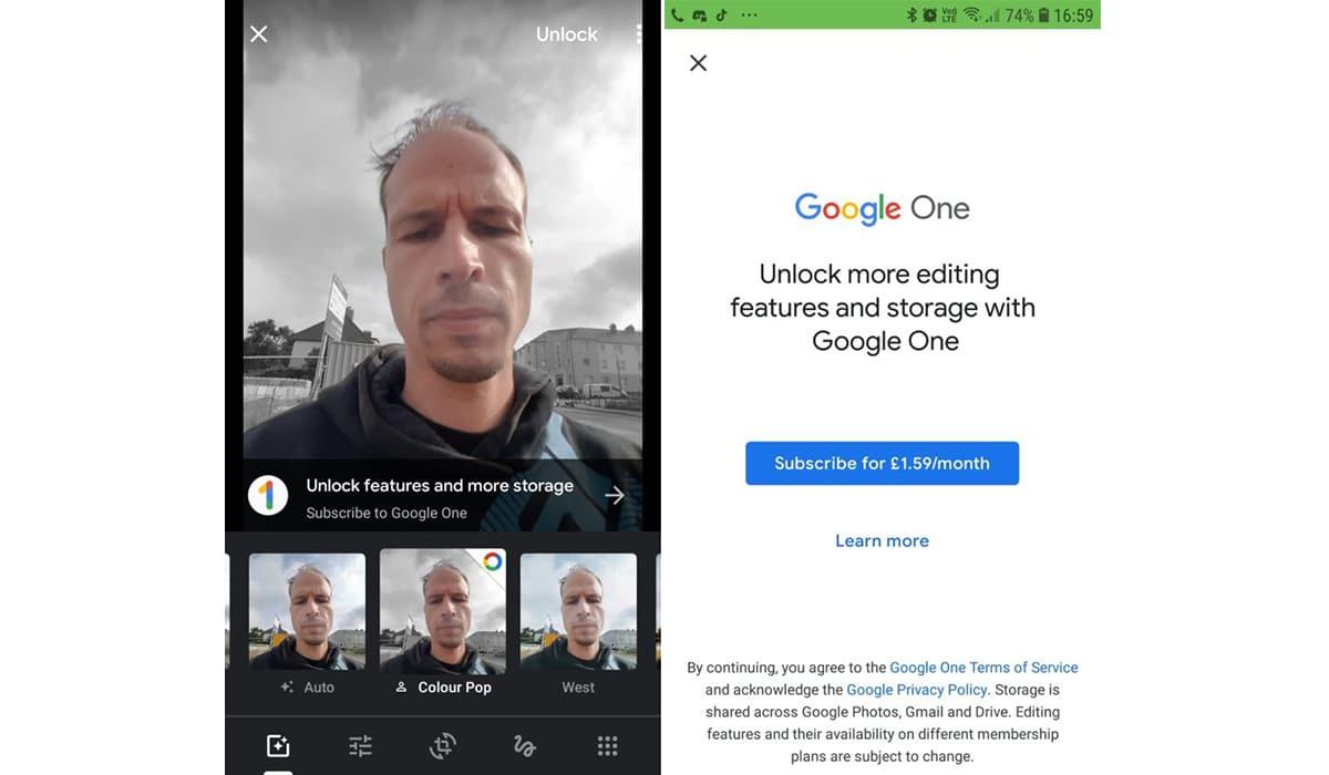 Google Fotos de pago