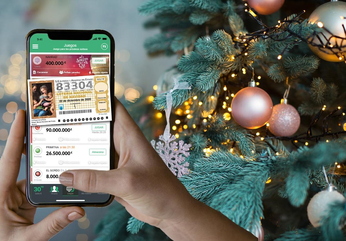 Arbol azul lotería navidad