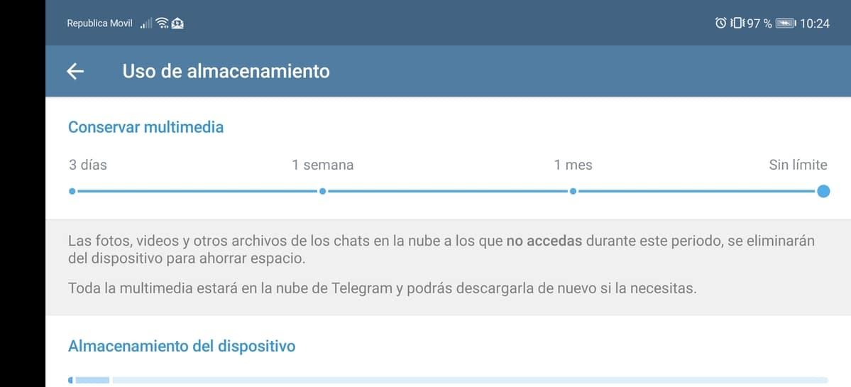 Datos almacenamiento Telegram