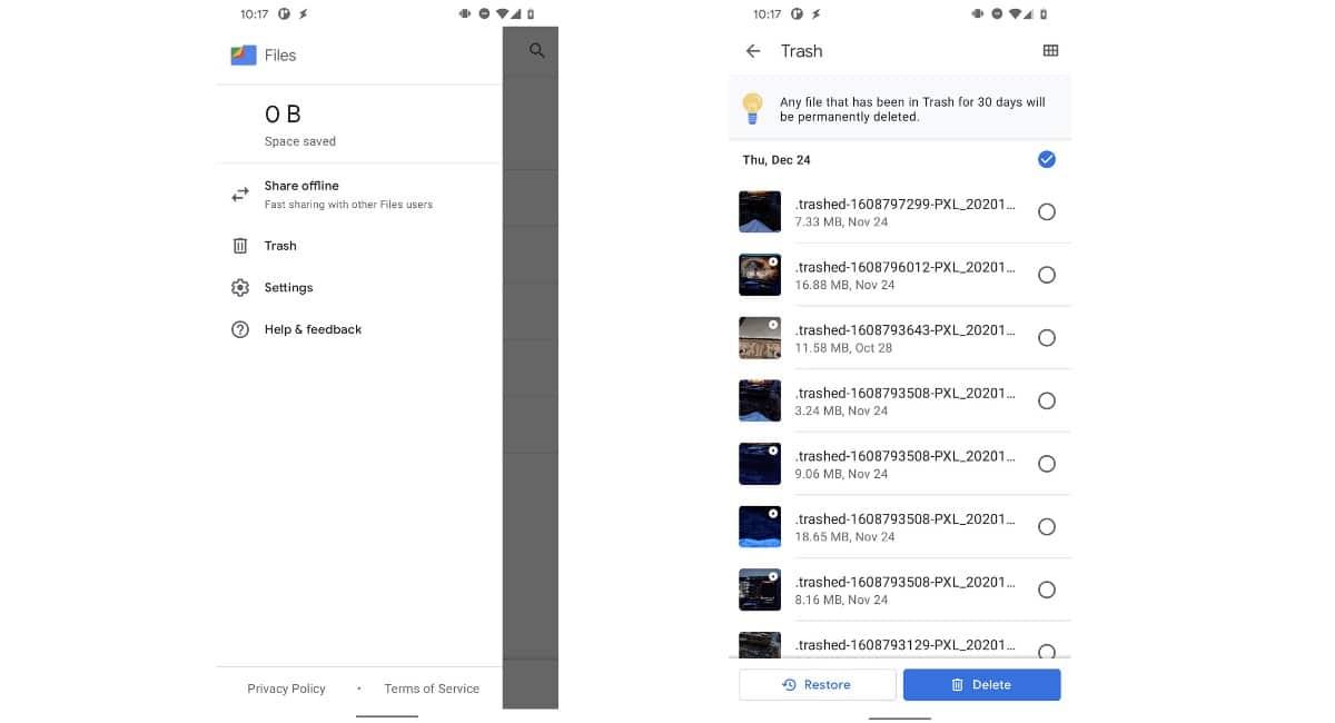 Papelera reciclaje Files de Google