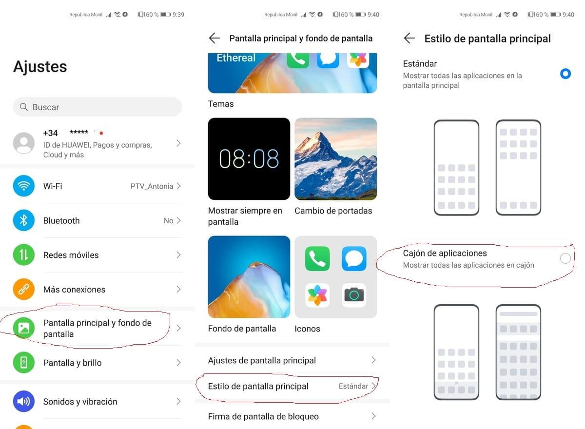Huawei cajón aplicaciones