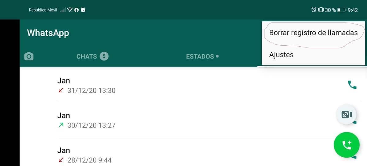 Borrar llamadas WhatsApp
