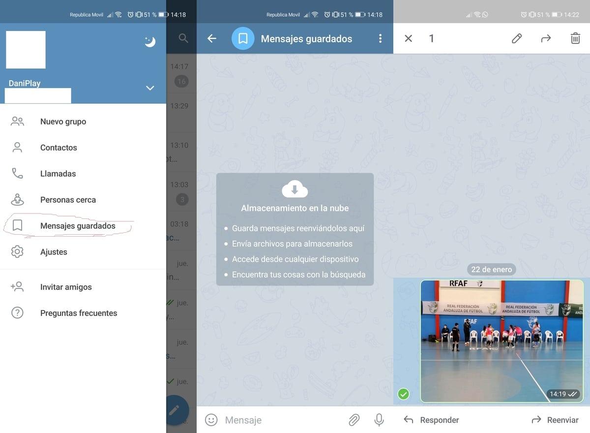 Mensajes guardados Telegram
