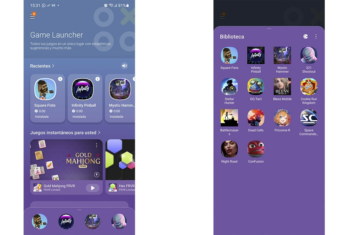 Game Launcher de Samsung