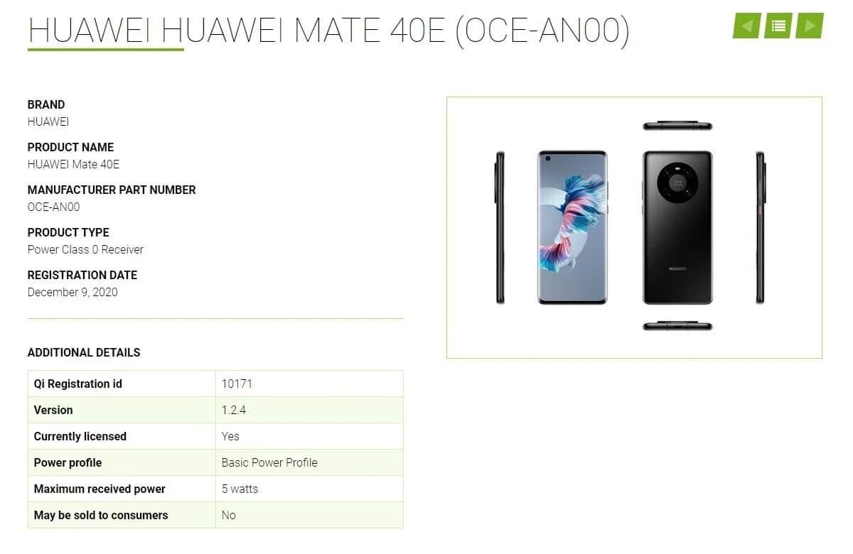 Huawei Mate 40E certificado