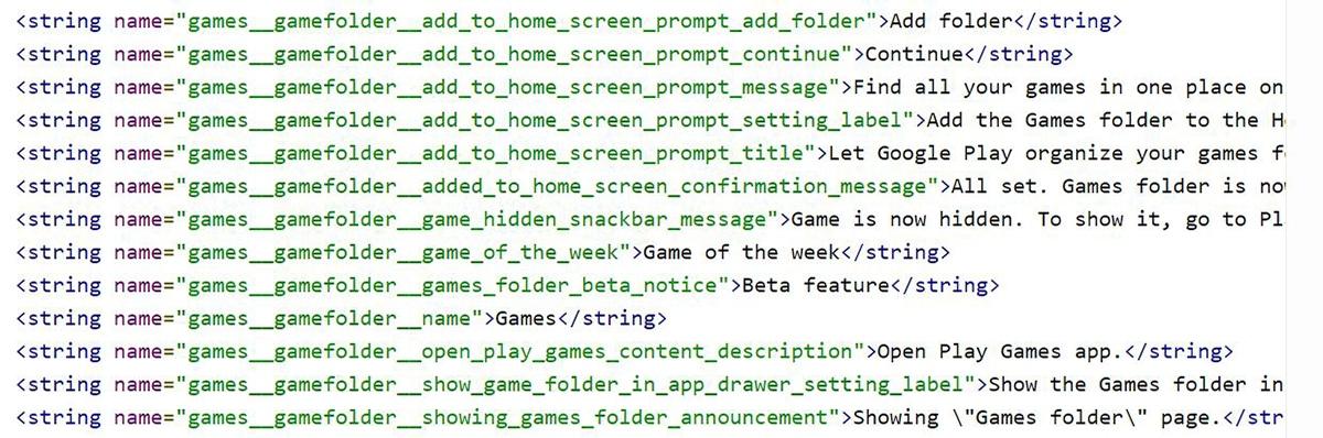 Líneas de código del APK de Google Play Juegos