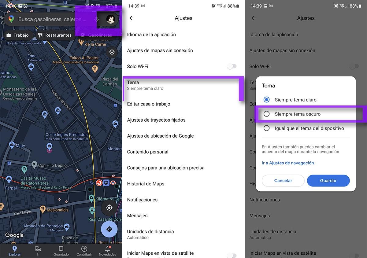 Ajustes para activar el modo oscuro permanente en Google Maps