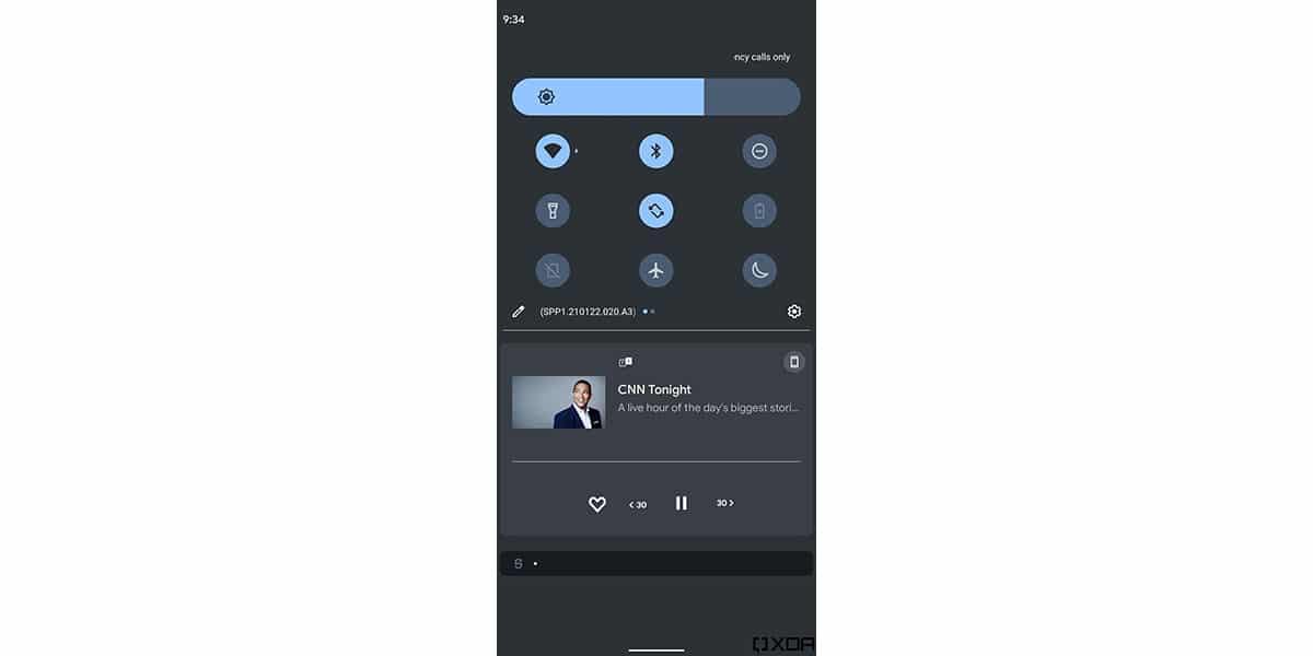 Nueva barra de brillo en Android 12
