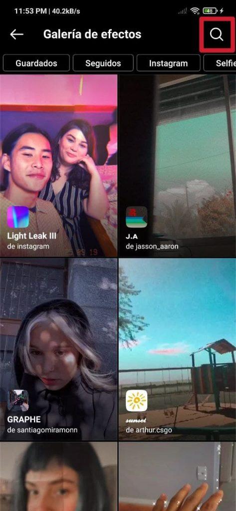 Cómo buscar filtros y efectos en Instagram para las historias