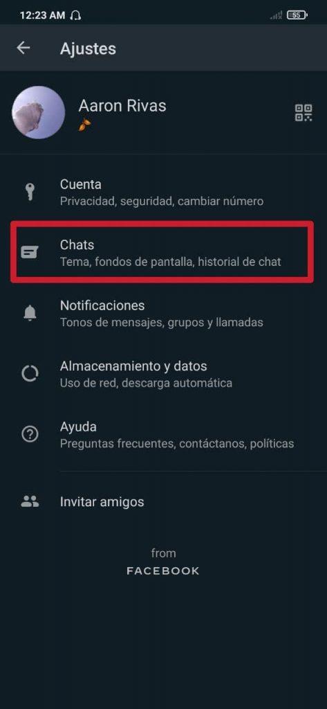 Cómo intercambiar el tamaño de las letras en el chat de WhatsApp