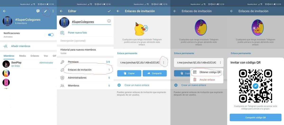 Compartir código qr Telegram