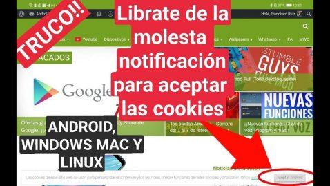 Librarse notificaciones cookies