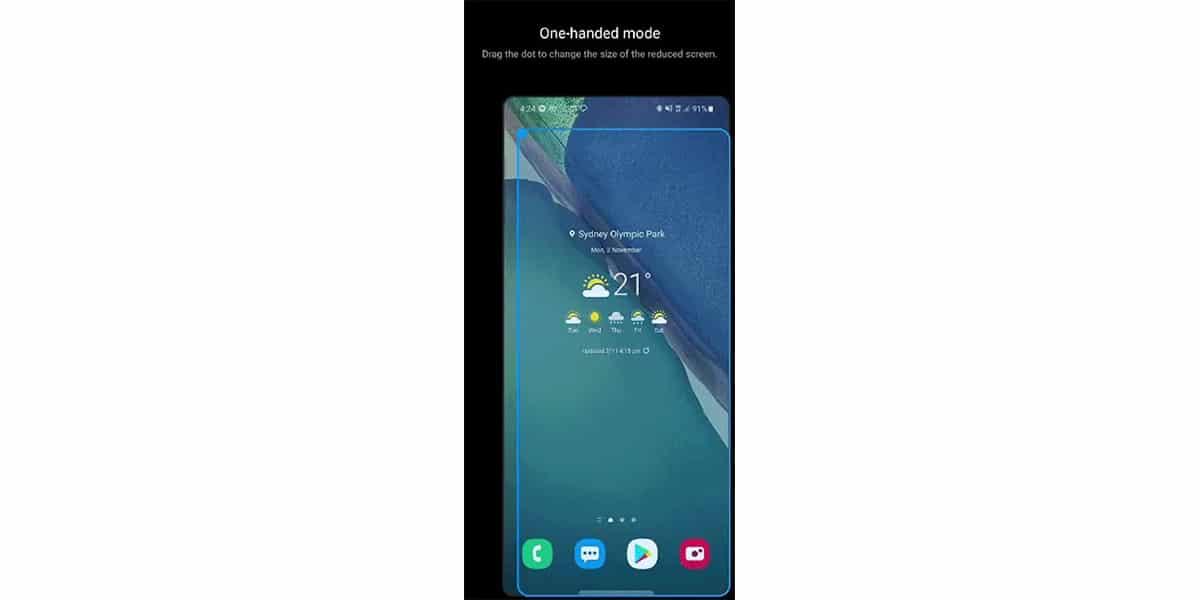Modo una mano en Samsung