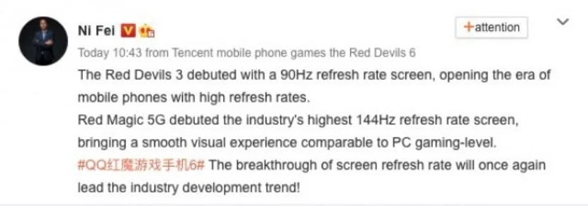 El Nubia Red Magic 6 tendrá pantalla de más de 144 Hz