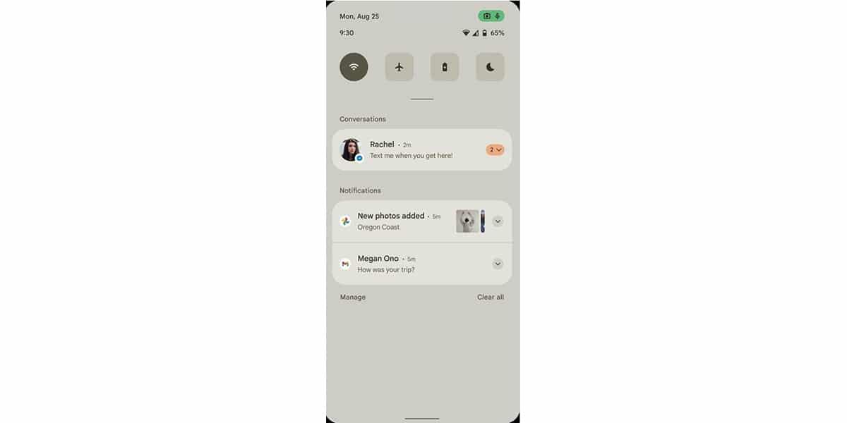 Panel de notificaciones en Android™ 12