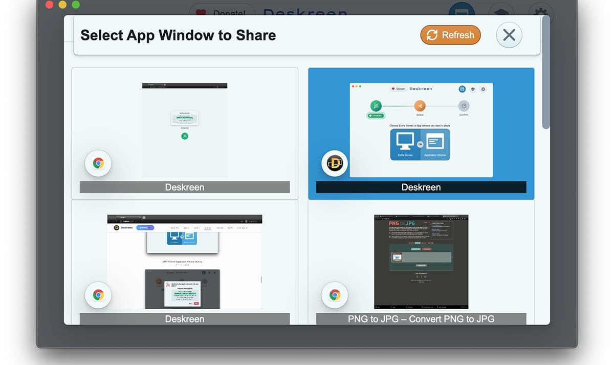 Seleccionar pantalla a compartir