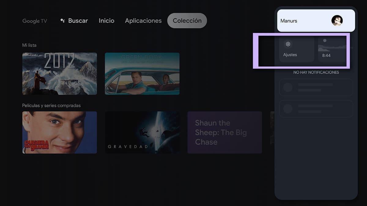 Ajustes de Chromecast con Google TV
