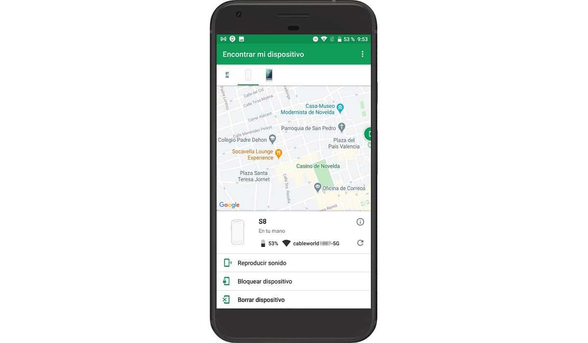 Encontrar y borrar dispositivo Android