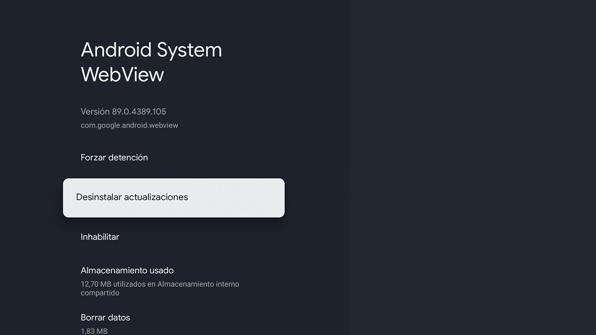 Desinstalar actualizaciones Android System WebView
