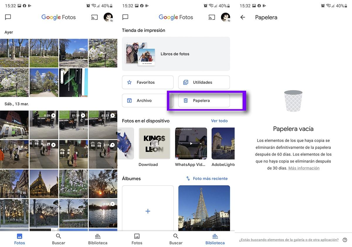 Google Fotos papelera
