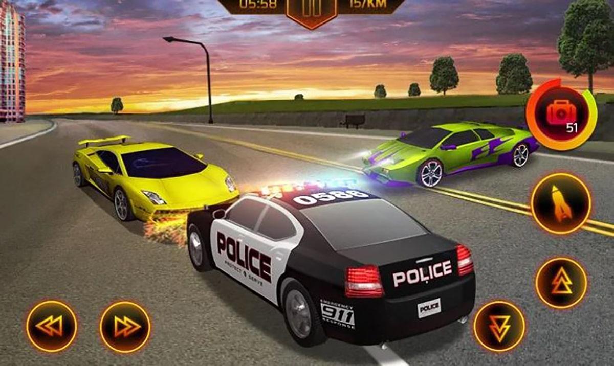 Persecución vehículo de policía