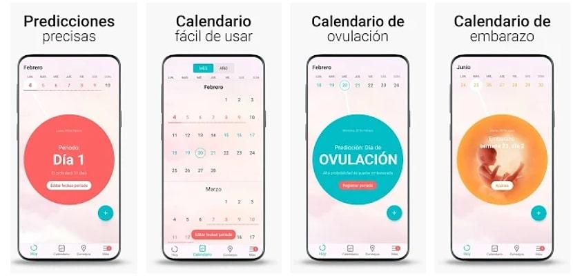 Calendario Menstrual, Ovulacion dias Fertiles Flo