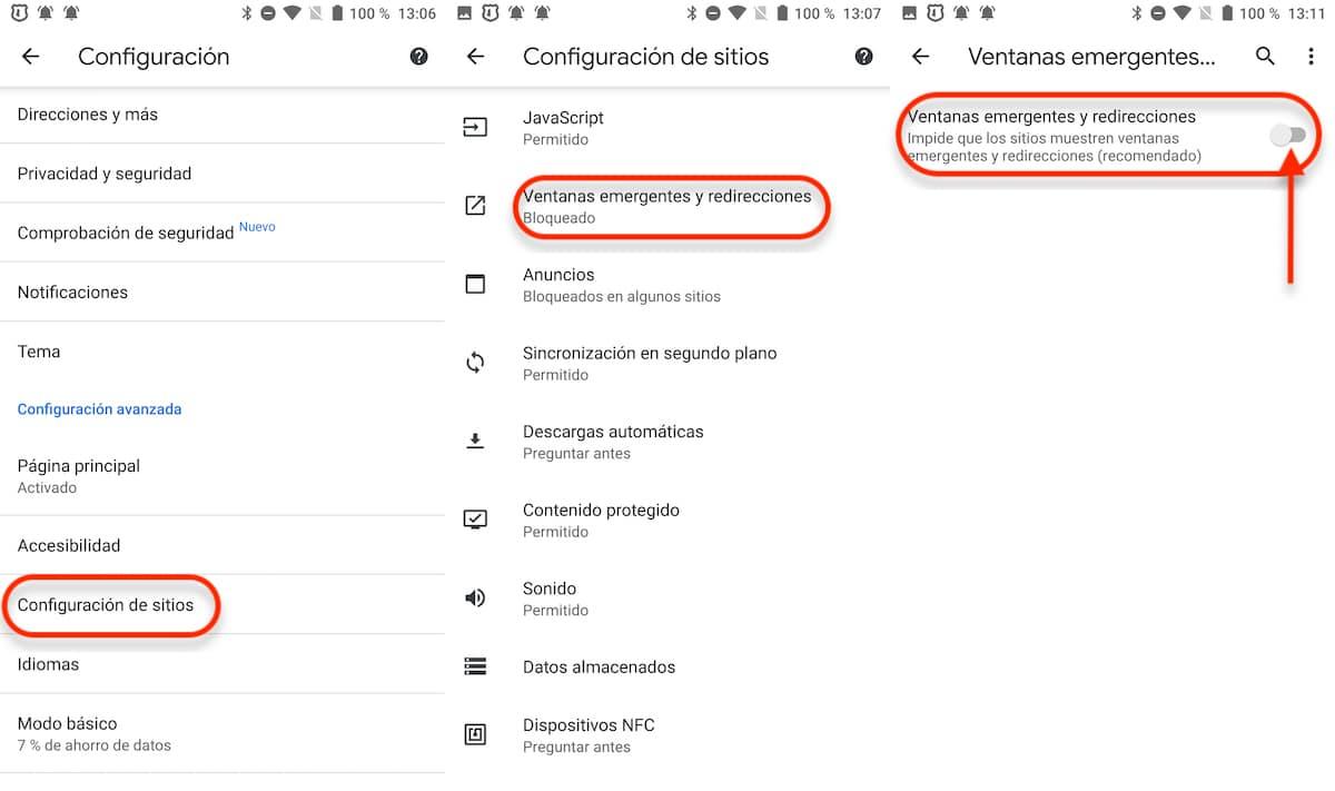 Activar bloqueador ventanas emergentes Chrome