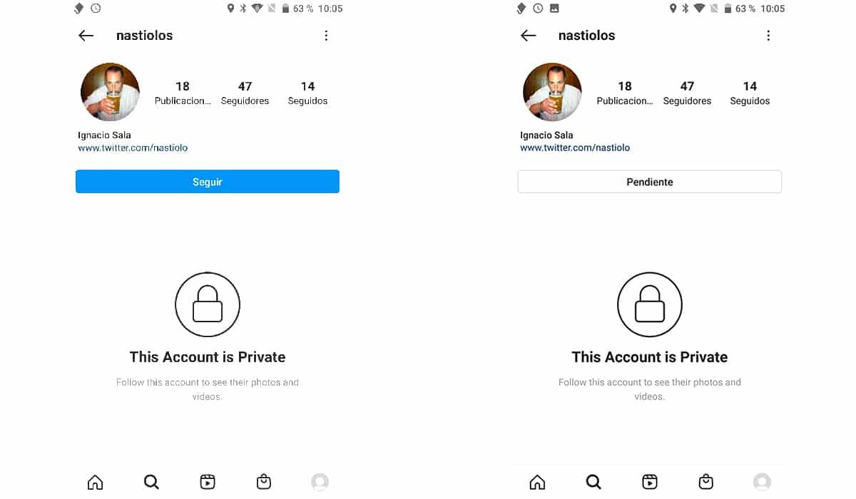 Seguir cuenta privada Instagram